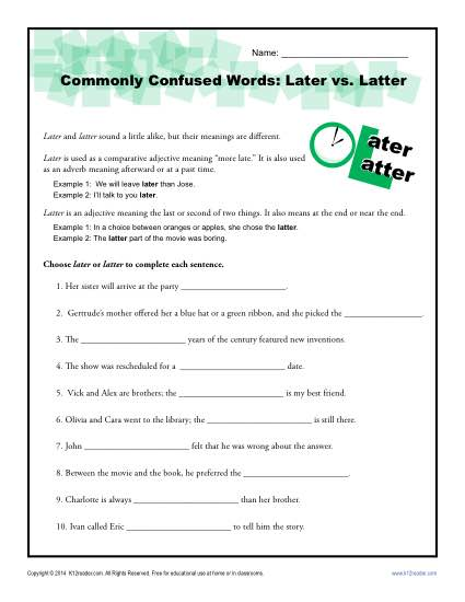 Later vs. Latter - Commonly Confused Words Practice Worksheet