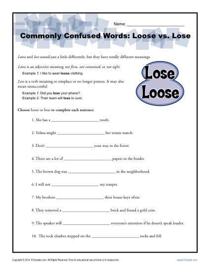 Loose vs. Lose - Commonly Confused Words Worksheet Activity