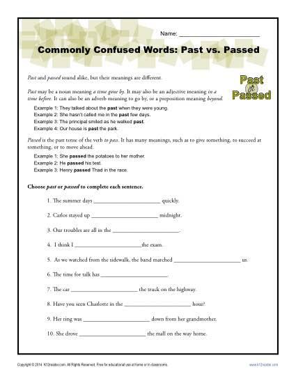 Past Vs Passed Worksheet Easily Confused Words