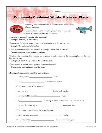 Plain Vs Plane Worksheet Easily Confused Words