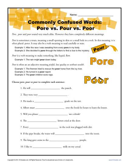 Pore vs. Pour vs. Poor - Commonly Confused Words Worksheet Activity