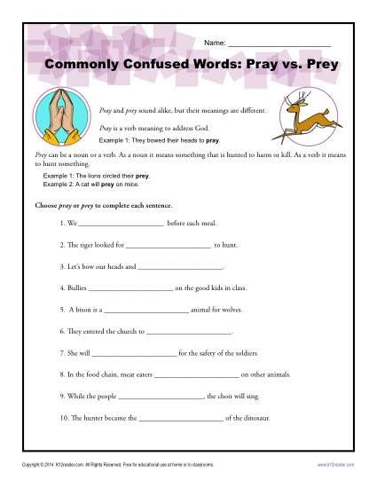 Pray vs. Prey - Commonly Confused Words Worksheet Activity