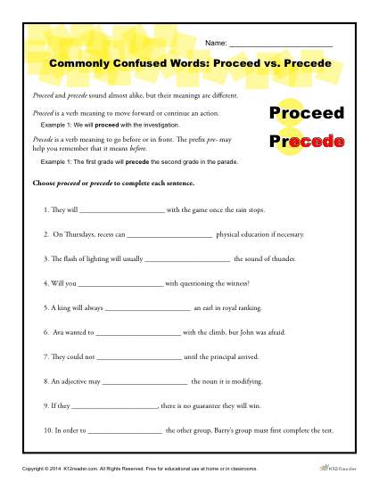 Commonly Confused Words - Proceed vs Precede