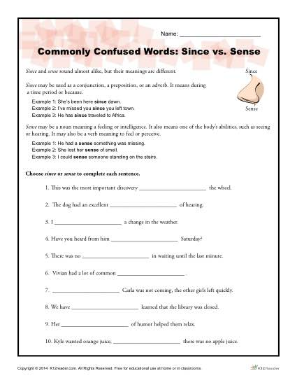 Since vs. Sense Worksheet | Commonly Confused Words