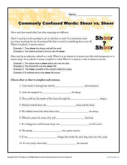 Shear vs Sheer - Commonly Confused Words Practice Worksheet
