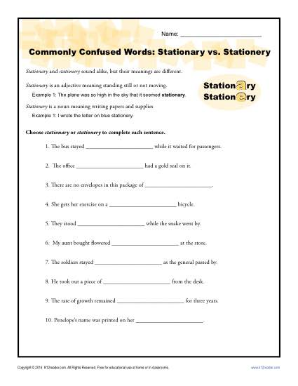 Stationary vs Stationery - Commonly Confused Words Practice Activity