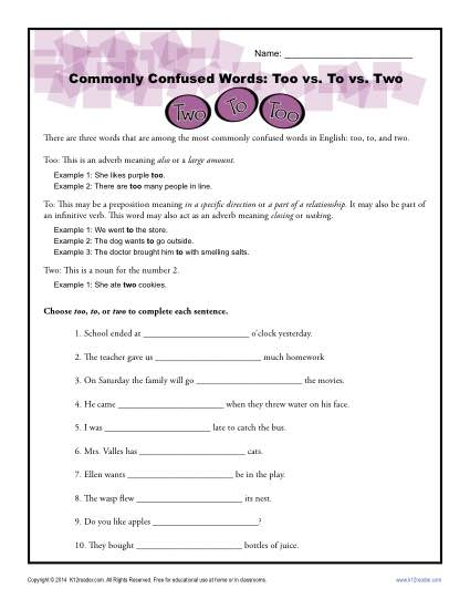 Too vs. to to vs. two - Commonly Confused Words Worksheet Activity