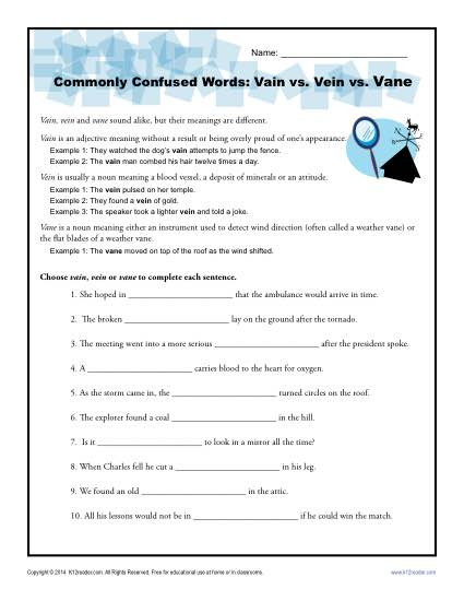 Vain Vein Vane - Commonly Confused Words Practice Worksheet