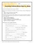 Waist vs Waste - Commonly Confused Words Practice Worksheet