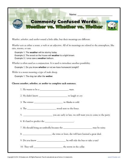 Weather vs. Whether vs. Wether - Commonly Confused Words Worksheet Activity