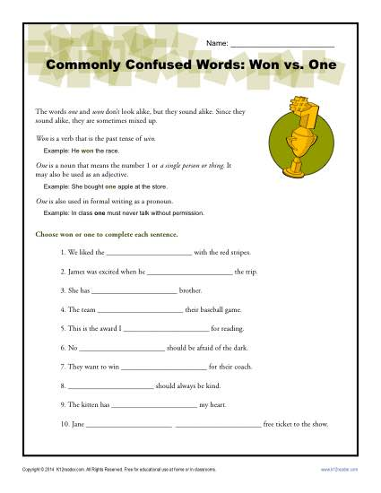 Won vs. One - Commonly Confused Words Worksheet Activity