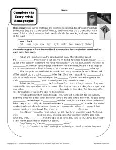 Complete the Story with Homographs - Free, Printable Worksheet
