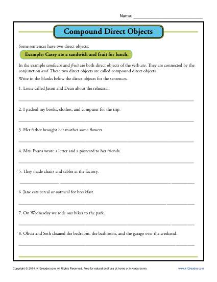 Compound Direct Object Worksheet Parts Of A Sentence Worksheets
