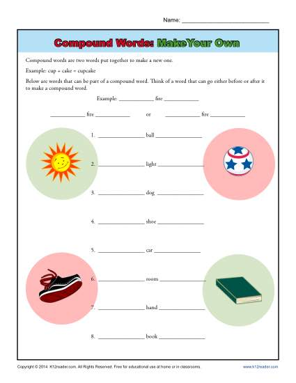 Compound Words Worksheet Practice Activity - Make Your Own!