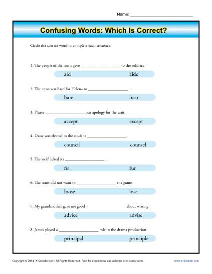 Confusing Words Worksheet Activity - Which is Correct?