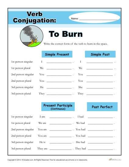 Printable Verb Conjugation Worksheet - To Burn
