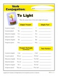 Free, Printable Verb Conjugation Activity - To Light