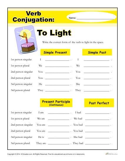 to light verb conjugation worksheets 2nd 5th grade. Black Bedroom Furniture Sets. Home Design Ideas