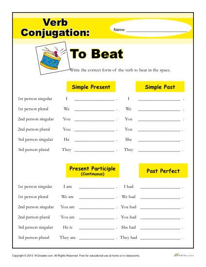 Free, Printable Verb Conjugation Worksheet - To Beat