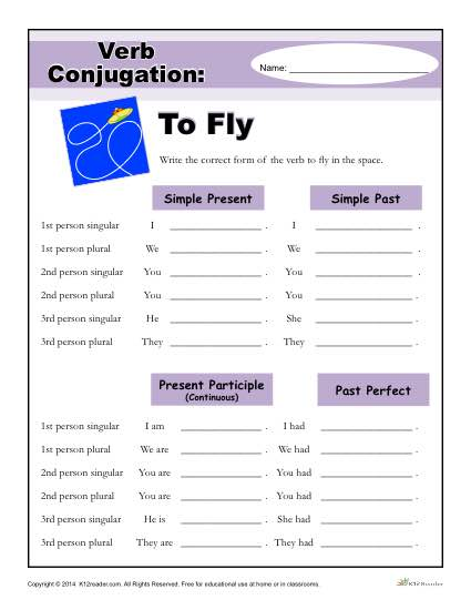 Verb Conjugation Worksheet - To Fly