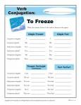 Printable Verb Conjugation Worksheet - To Freeze