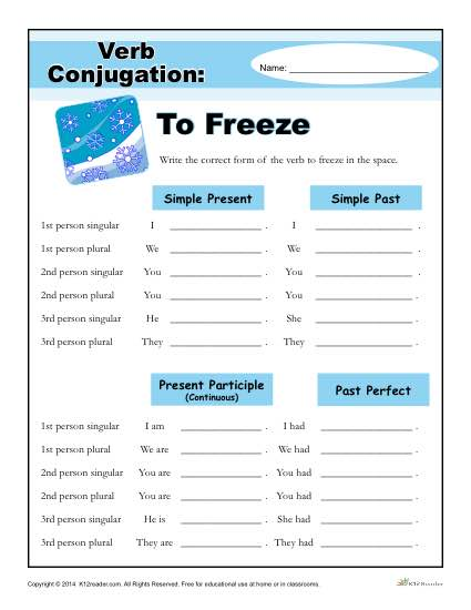 Printable Verb Conjugation Worksheet - To Freeze