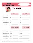 Free, Printable Verb Conjugation Worksheet - To Hold