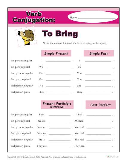 Printable Verb Conjugation Worksheet - To Bring