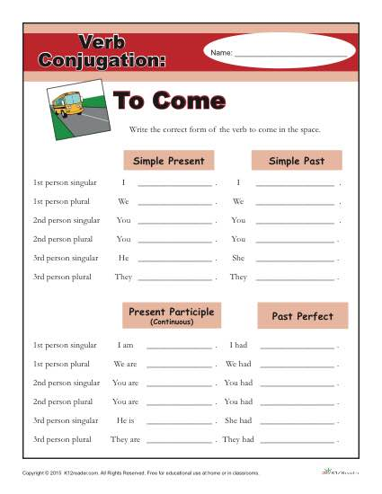 Printable Verb Conjugation Worksheet - To Come