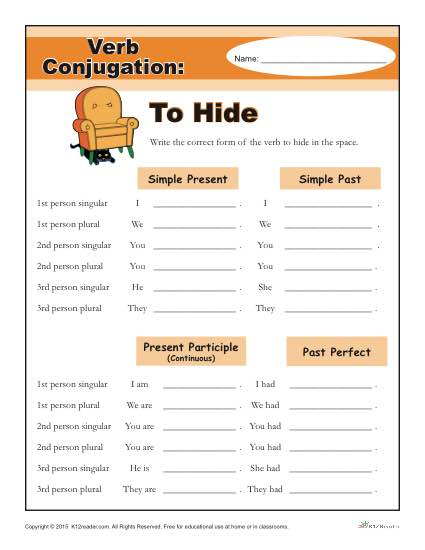 Printable Verb Conjugation Worksheet - To Hide