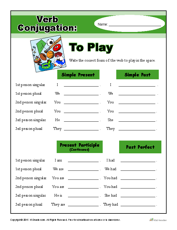 Printable Verb Conjugation Worksheet - To Play