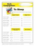 Printable Verb Conjugation Worksheet - To Sleep