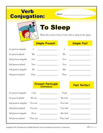 Sleep Worksheets: verb conjugation worksheet to sleep,