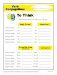 Printable Verb Conjugation Worksheet - To Think