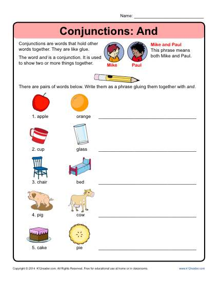 Conjunctions Worksheet - Conjunction And