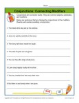 Conjunctions Worksheet Activity - Connecting Modifiers