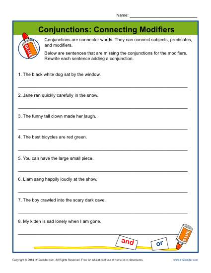 Conjunctions: Connecting Modifiers | Conjunction Worksheets