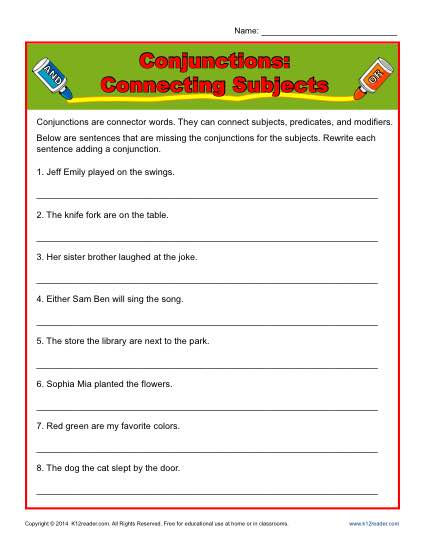 Conjunction Worksheet Activity - Connecting Subjects