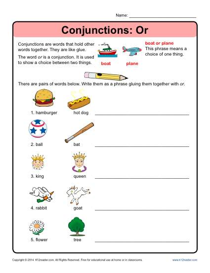 The conjunction OR worksheet for language arts