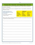Conjunctive Adverbs and Independent Clauses Worksheet Activity