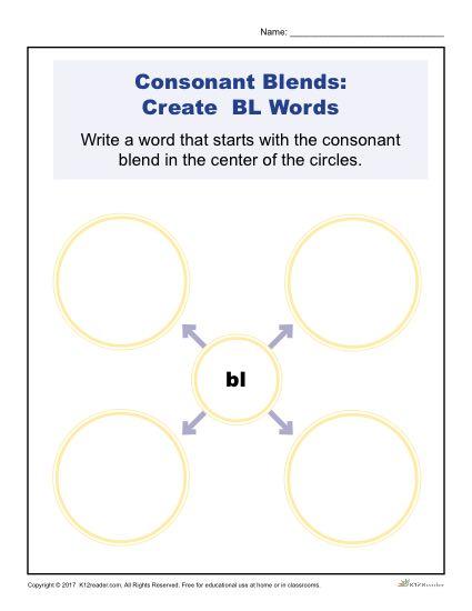 Consonant Blends Worksheets | BL Words