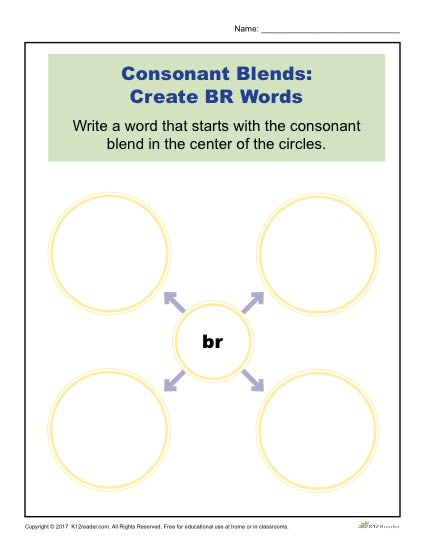 Consonant Blends Worksheet Activity - Create BR Words