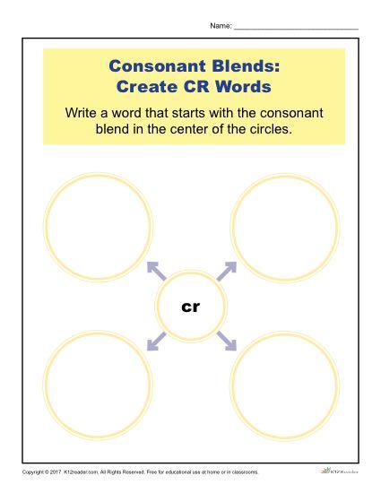 Consonant Blends Worksheet Activity - Create CR Words