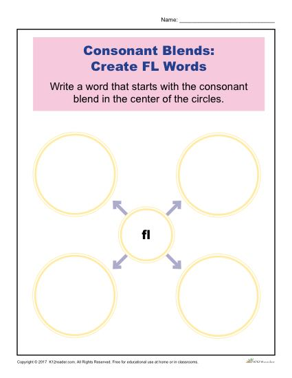 Consonant Blends Worksheet Activity - Create FL Words