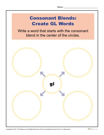Consonant Blends Worksheet Activity - Create GL Words