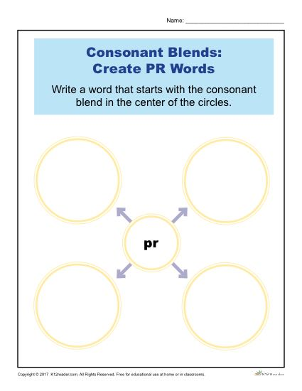 Consonant Blends Worksheet Activity - Create PR Words