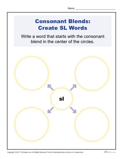 Consonant Blends Worksheets Sl Words