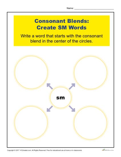 Consonant Blends Worksheet Activity - Create SM Words