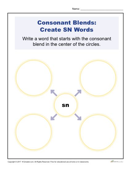 Consonant Blends Worksheets Sn Words