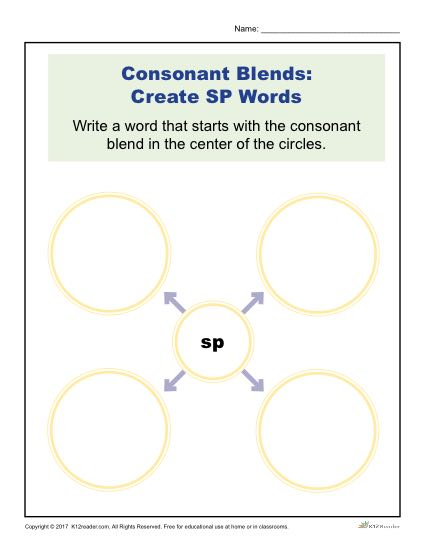 Consonant Blends Worksheet Activity - Create SP Words